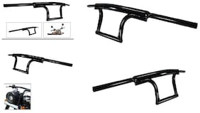 SBA Entice Bullet Bike Customized  Handle Bar Dual Triple Curved Pipe Handlebar Black  For Royal Enfield Thunderbird 350 Type 1