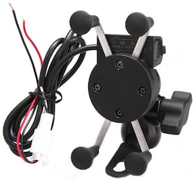 SBA ENTICE Bike Mobile Phone Holder with USB Charger For Royal Enfield Thunderbird 350X