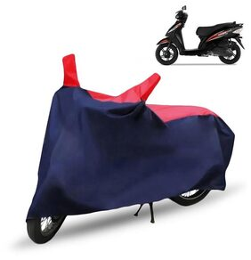 Scooty Body Cover For TVS Wego Body Cover With Storage Bag (Red & Blue)