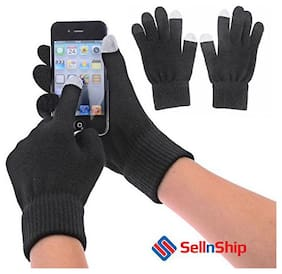 SellnShip Touch Screen Knit Gloves (Black)