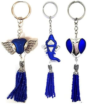 Set of 3 Fashionable Keychains having Covered Heart Shape;Heart Shape with Wings;Ganapati Idol Pendant Key Chain