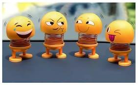 Robert Hardy Shaking Head Dolls Toy  Decoratie Desk Family Decoration Cute Cartoon Funny Emoji Spring Toys, Car Deshboard Decoration, Home, Desktop (Design Sent As Per Stock Availability) Yellow (4Pc)