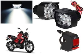 SHOP4U 9 LED Fog Light Head Lamp for Yamaha FZS-FI V3 BS6 (Set of 2, Free On/Off Switch)
