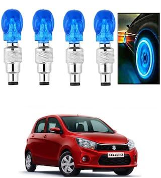 SHOP4U Car Skull Wheel/Tyre LED Light With Motion Sensor for maruti suzuki celerio ( Pack of 4;Blue )