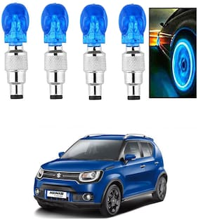 SHOP4U Car Skull Wheel/Tyre LED Light With Motion Sensor for maruti suzuki ignis ( Pack of 4;Blue )