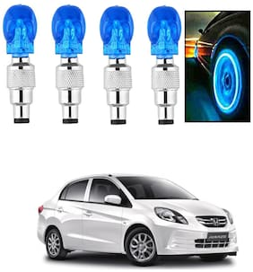 SHOP4U Car Skull Wheel/Tyre LED Light With Motion Sensor for honda amaze ( Pack of 4;Blue )