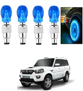 SHOP4U Car Skull Wheel/Tyre LED Light With Motion Sensor for mahindra scorpio ( Pack of 4;Blue )