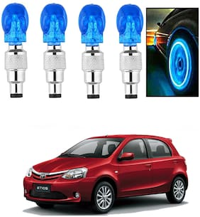 SHOP4U Car Skull Wheel/Tyre LED Light With Motion Sensor for toyota etios ( Pack of 4;Blue )