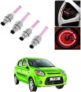 SHOP4U Car Skull Wheel/Tyre LED Light With Motion Sensor for maruti suzuki alto-800 ( Pack of 4;Pink )