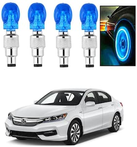 SHOP4U Car Skull Wheel/Tyre LED Light With Motion Sensor for honda accord ( Pack of 4;Blue )