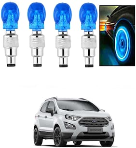 SHOP4U Car Skull Wheel/Tyre LED Light With Motion Sensor for ford eco sport ( Pack of 4;Blue )