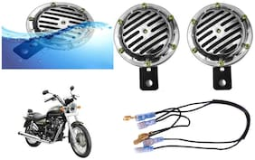 SHOP4U Chrome Horn with Relay and Wire for Royal Enfield Thunderbidr 500 ( 12V;Chrome )
