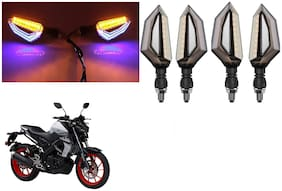 SHOP4U Front;Side;Rear D Shape Dual Color DRL Indicator Light for Yamaha MT-15 BS6 ( Blue Yellow;Pack of 4 )