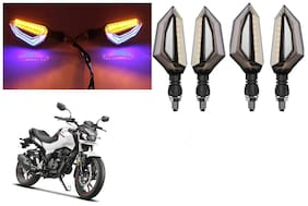 SHOP4U Front;Side;Rear D Shape Dual Color DRL Indicator Light for Hero Xtreme 160R ( Blue Yellow;Pack of 4 )