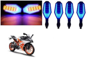 SHOP4U Front;Side;Rear U Shape Dual Color DRL Indicator Light for KTM RC 200 ( Blue Yellow;Pack of 4 )