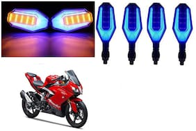 SHOP4U Front;Side;Rear U Shape Dual Color DRL Indicator Light for TVS Apache RR310 ( Blue Yellow;Pack of 4 )