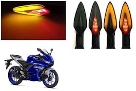 SHOP4U Front;Side;Rear A Shape Dual Color DRL Indicator Light for Yamaha YZF R3 ( Pack of 4;Red and Amber )