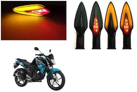 SHOP4U Front;Side;Rear A Shape Dual Color DRL Indicator Light for Yamaha FZ-S-FI ( Pack of 4;Red and Amber )