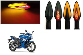 SHOP4U Front;Side;Rear A Shape Dual Color DRL Indicator Light for Suzuki Gixxer 250 ( Pack of 4;Red and Amber )