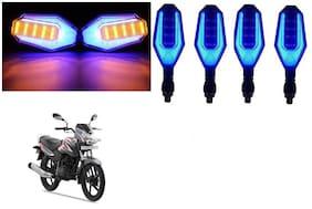 SHOP4U Front;Side;Rear U Shape Dual Color DRL Indicator Light for TVS Sport ( Blue Yellow;Pack of 4 )