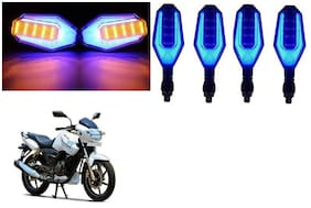 SHOP4U Front;Side;Rear U Shape Dual Color DRL Indicator Light for TVS Apache RTR 180 ( Blue Yellow;Pack of 4 )