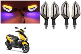 SHOP4U Front;Side;Rear D Shape Dual Color DRL Indicator Light for TVS NTORQ 125 ( Blue Yellow;Pack of 4 )