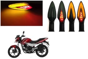 SHOP4U Front;Side;Rear A Shape Dual Color DRL Indicator Light for Bajaj Discover 100T ( Pack of 4;Red and Amber )