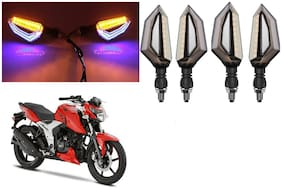 SHOP4U Front;Side;Rear D Shape Dual Color DRL Indicator Light for TVS Apache RTR 160 4V ( Blue Yellow;Pack of 4 )