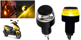 SHOP4U Handlebar LED Turn Signal Indicatorn Dual Bulb for TVS NTORQ 125 ( White and Yellow;2 PCs. )