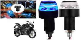SHOP4U Handlebar LED Turn Signal Handelbar Dual Bulb for Yamaha YZF R15S ( White and Blue;2 PCs. )