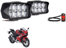 SHOP4U Shillon 8 LED Fog Light Mirror Mount Driving Spot Lamp with On/Off Switch For Yamaha YZF R15 V3 ( Black, Pack of 2 )
