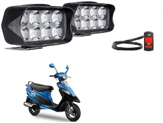 SHOP4U Shillon 8 LED Fog Light Mirror Mount Driving Spot Lamp with On/Off Switch For TVS Scooty PEP Plus ( Black, Pack of 2 )