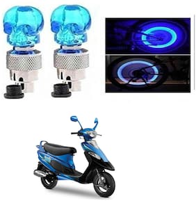 SHOP4U Skull Wheel/ Tyre Light With Motion Sensor for TVS Scooty PEP Plus (Blue, Pack of 2 )