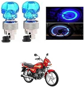 SHOP4U Skull Wheel/ Tyre Light With Motion Sensor for Hero Splendor Plus (Blue, Pack of 2 )