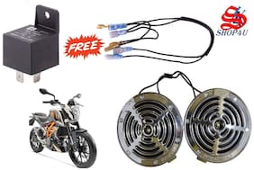 SHOP4U Supersonic Chrome Grill Horns for KTM Duke 390 ( Set of 2 with Relay and Wire;Chrome )