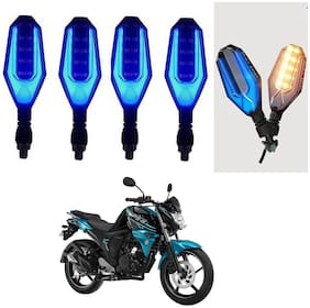 SHOP4U U Shape Side Blinker LED Indicator Light Front;Rear Light for Yamaha FZ-S-FI ( Blue;Yellow )