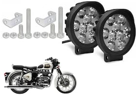 SHOP4U Waterproof 9 Round Cap LED Fog Light Head Lamp for Royal Enfield Classic 350 (Set of 2;Free On/Off Switch)