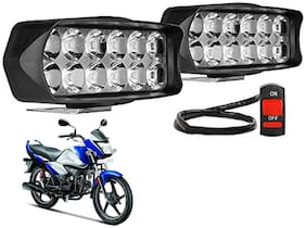 SHOP4U Waterproof 12 LED Fog Light Head Lamp for Hero Splendor I Smart 110 ( Set of 2;Free On/Off Switch)