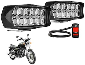 SHOP4U Waterproof 12 LED Fog Light Head Lamp for Royal Enfield Thunderbird 350 ( Set of 2;Free On/Off Switch)