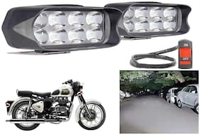 SHOP4U Waterproof 8 LED Fog Light Head Lamp for Royal Enfield Classic 350 (Set of 2, Free On/Off Switch)