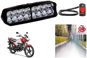 SHOP4U Waterproof 16 LED Fog Light Head Lamp for Hero Super Splendor I Smart (Set of 1;Free On/Off Switch)