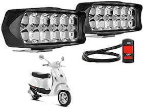SHOP4U Waterproof 12 LED Fog Light Head Lamp for Piaggio Vespa LX 125 ( Set of 2;Free On/Off Switch)