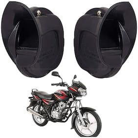 SHOP4U Windtone Skoda Type Horn for Bajaj Discover 125 ( Black, 12V Required )