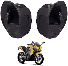 SHOP4U Windtone Skoda Type Horn for Bajaj Pulsar SS400 ( Black, 12V Required )