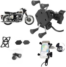 SHOP4U X-Grip Bike Mobile Holder with 2.1A USB Charge for Royal Enfield Classic 350