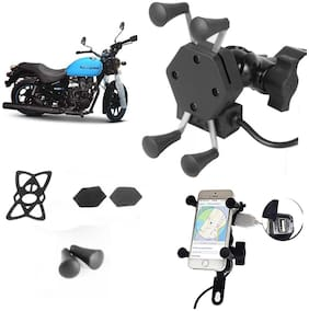 SHOP4U X-Grip Bike Mobile Holder with 2.1A USB Charge for Royal Enfield Thunderbird 500X