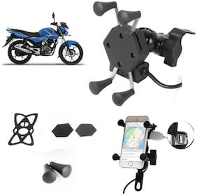 SHOP4U X-Grip Bike Mobile Holder with 2.1A USB Charge for Bajaj Discover 100M