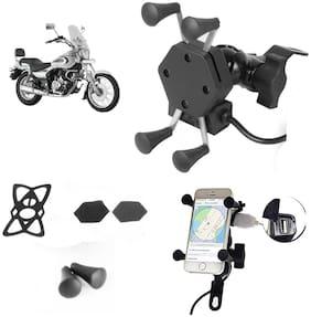 SHOP4U X-Grip Bike Mobile Holder with 2.1A USB Charge for Bajaj Avenger 220