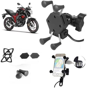 SHOP4U X-Grip Bike Mobile Holder with 2.1A USB Charge for Suzuki Gixxer