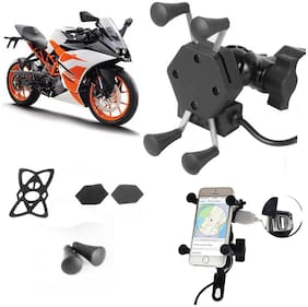 SHOP4U X-Grip Bike Mobile Holder with 2.1A USB Charge for KTM RC 200